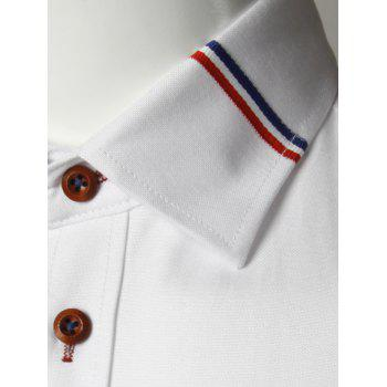 Long Sleeve Stripe Detail Casual Shirt - WHITE WHITE