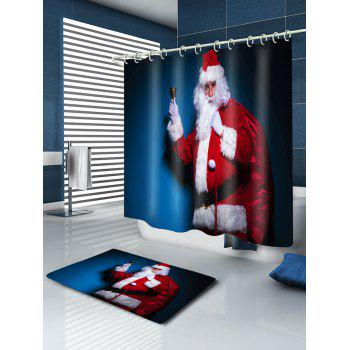 Christmas Santa Claus Print Waterproof Bathroom Shower Curtain - RED RED