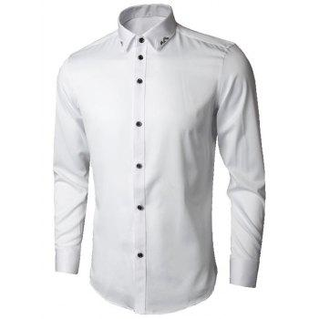 Long Sleeve Leaves Embroidered Shirt - WHITE WHITE