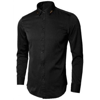 Long Sleeve Leaves Embroidered Shirt - BLACK BLACK