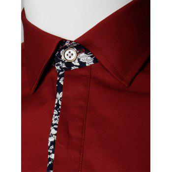 Floral Detail Long Sleeve Pocket Shirt - WINE RED 3XL