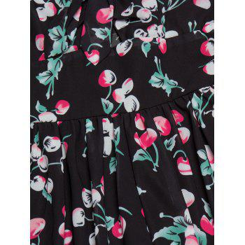 Cherry Print Backless Swing Cami Dress - BLACK BLACK