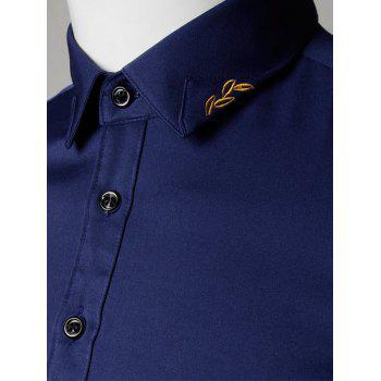 Long Sleeve Leaves Embroidered Shirt - DEEP BLUE DEEP BLUE