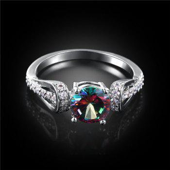 Sparkly Faux Gem Crystal Round Ring - SILVER SILVER