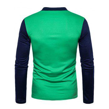 Long Sleeve Color Block Polo T-shirt - GREEN GREEN