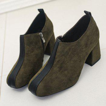 Ankle Square Toe Color Block Pumps - GREEN GREEN
