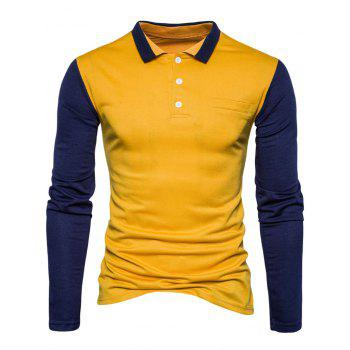 Long Sleeve Color Block Polo T-shirt - YELLOW YELLOW