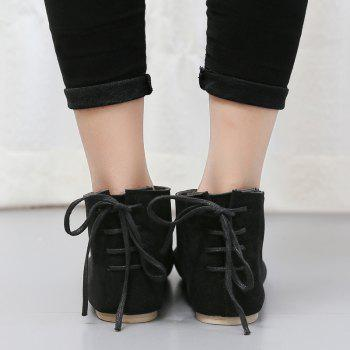 Ankle Flat Pointed Toe Boots - BLACK BLACK