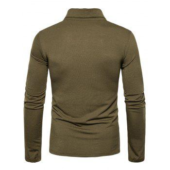 Polyester Panel Long Sleeve Polo T-shirt - ARMY GREEN ARMY GREEN