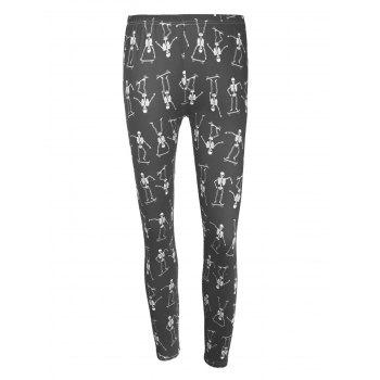High Waisted Skeleton Print Halloween Leggings - BLACK M