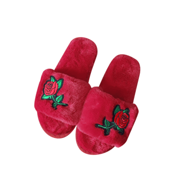 Embroidery Flower Faux Fur Open Toe Slippers - RED RED
