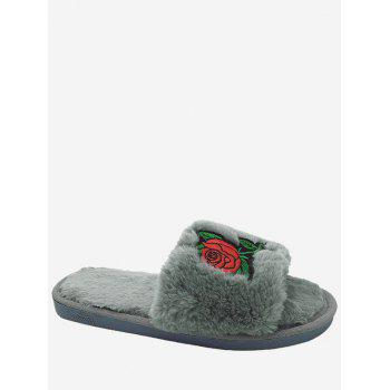 Embroidery Flower Faux Fur Open Toe Slippers - GRAY GRAY