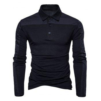 Polyester Panel Long Sleeve Polo T-shirt - BLACK BLACK