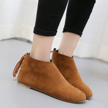 Ankle Flat Pointed Toe Boots - BROWN BROWN
