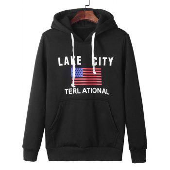 American Flag Graphic Kangaroo Pocket Pullover Hoodie - BLACK BLACK