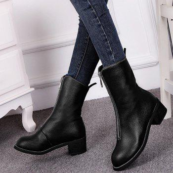 Zip Short Faux Leather Boots - BLACK BLACK