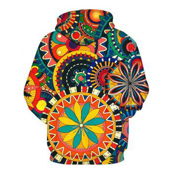 Colorful Wheel Gear 3D Print Pullover Hoodie - COLORMIX 2XL