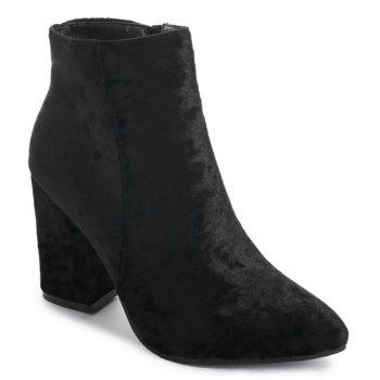 Pointed Toe Ankle Chunky Boots - BLACK BLACK