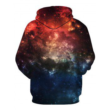 3D Galaxy Print Long Sleeve Pullover Hoodie - COLORMIX M