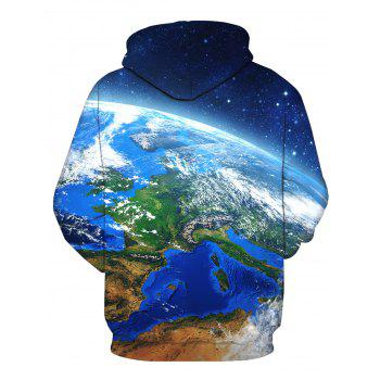 3D Galaxy Earth Print Pullover Hoodie - COLORMIX XL