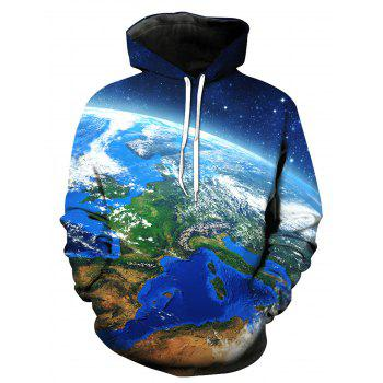 3D Galaxy Earth Print Pullover Hoodie - COLORMIX COLORMIX
