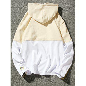 Embroidered Appliques Color Block Pullover Hoodie - LIGHT YELLOW XL