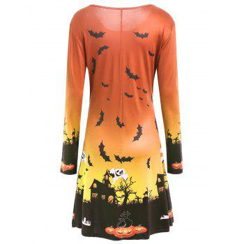 Pumpkin Bat Print Long Sleeve Halloween Swing Dress - JACINTH XL