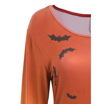 Pumpkin Bat Print Long Sleeve Halloween Swing Dress - JACINTH L