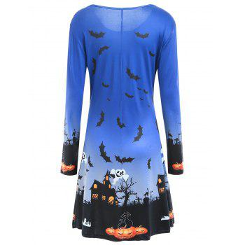 Pumpkin Bat Print Long Sleeve Halloween Swing Dress - BLUE BLUE