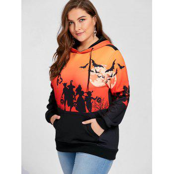 Plus Size Halloween Moon Bat Print Hoodie with Pocket - BLACK 5XL