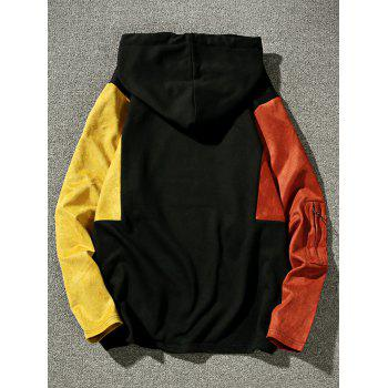 Drop Shoulder Color Block Pullover Hoodie - MANDARIN L