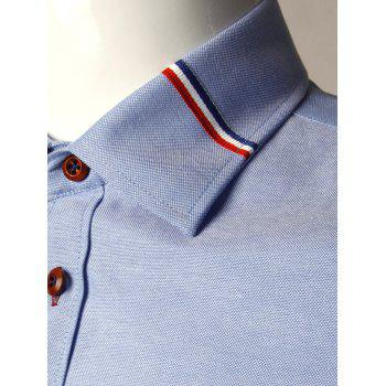 Long Sleeve Stripe Detail Casual Shirt - BLUE 5XL
