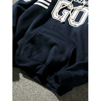 Fleece Graphic Stripe Print Pullover Hoodie - CADETBLUE XL