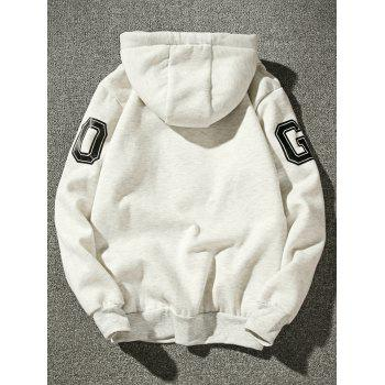 Fleece Graphic Stripe Print Pullover Hoodie - OFF WHITE L
