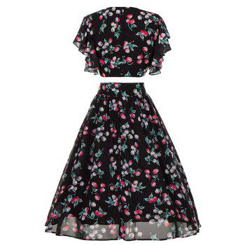 Cherry Print High Waisted Two Piece Midi Dress - BLACK BLACK