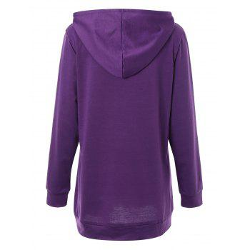 Plus Size Woke Up Graphic Hoodie with Kangaroo Pocket - PURPLE PURPLE