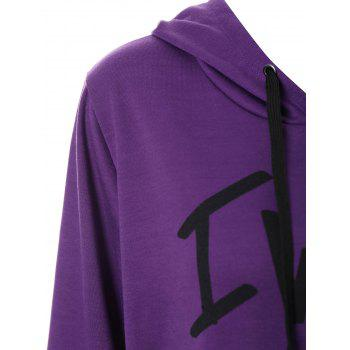 Plus Size Woke Up Graphic Hoodie with Kangaroo Pocket - PURPLE 4XL
