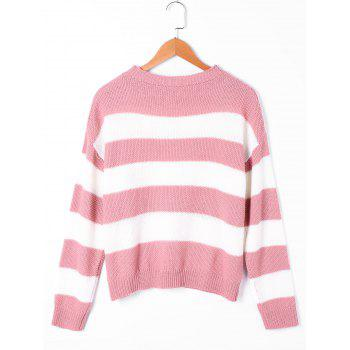 Striped Two Tone Sweater - PINK/WHITE L