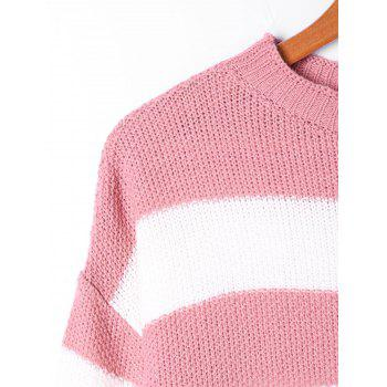 Striped Two Tone Sweater - PINK/WHITE S