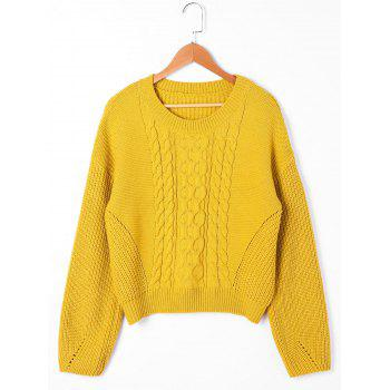 Drop Shoulder Ribbed Cable Knit Sweater - YELLOW YELLOW