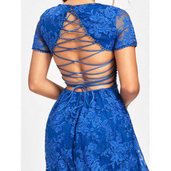 Back Tie Up Lace High Low Dress - BLUE M