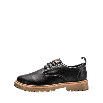 Lace Up Low Top Faux Leather Casual Shoes - BLACK 44