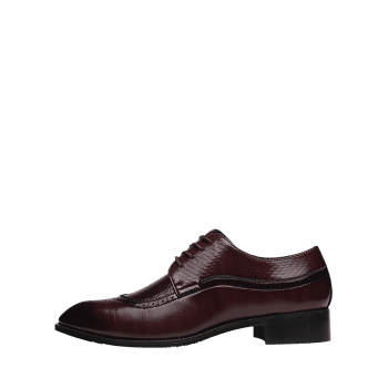 Pointed Toe Embossing Formal Shoes - BROWN 42