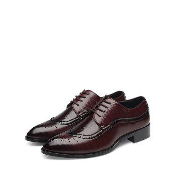 Pointed Toe Embossing Formal Shoes - BROWN BROWN