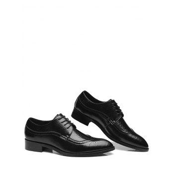 Pointed Toe Embossing Formal Shoes - BLACK 44