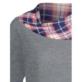 Lace Plaid Panel Plus Size Long Top - GRAY GRAY