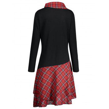 Lace Plaid Panel Plus Size Long Top - BLACK/RED 4XL