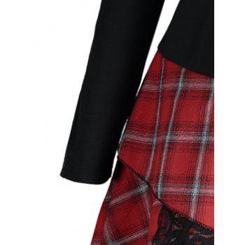 Lace Plaid Panel Plus Size Long Top - BLACK/RED 2XL