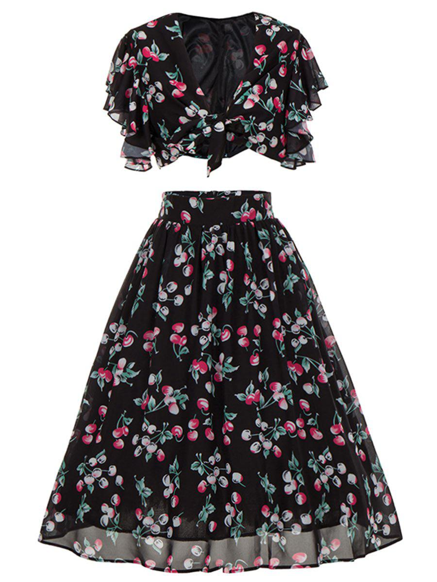 Cherry Print High Waisted Two Piece Midi Dress - BLACK XL