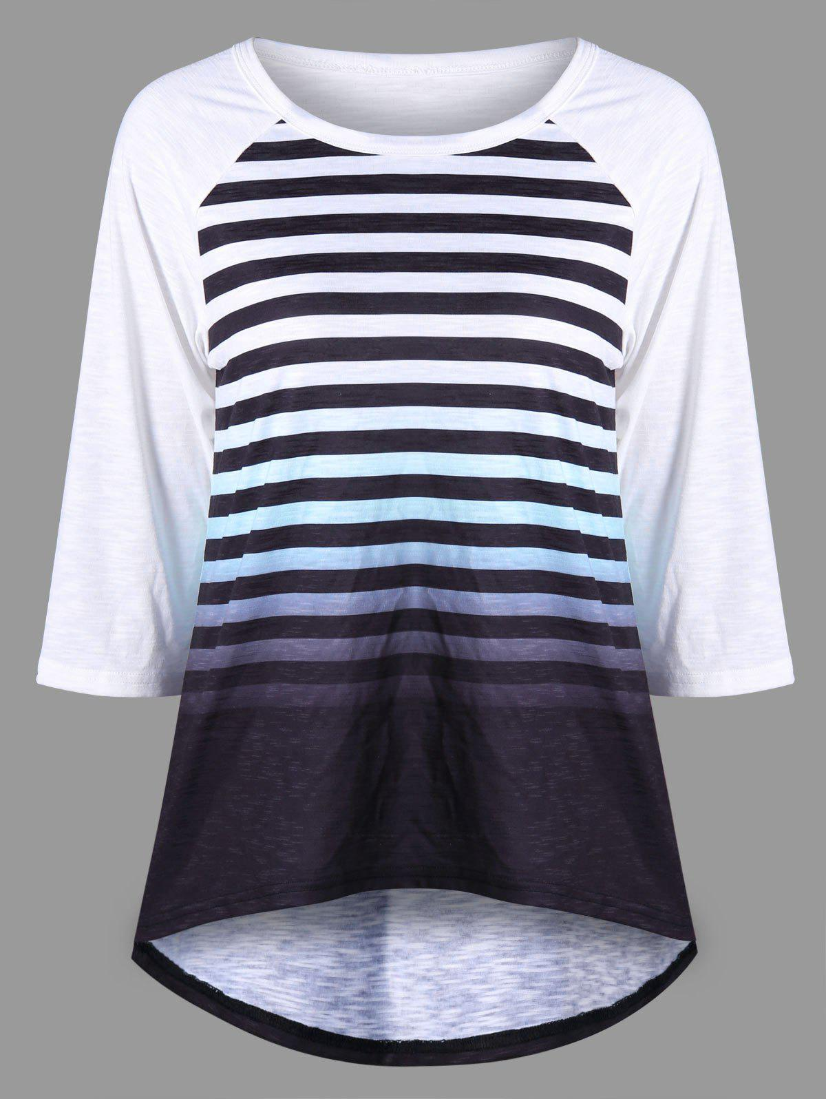 Striped Raglan Sleeve Ombre Top - BLACK WHITE M